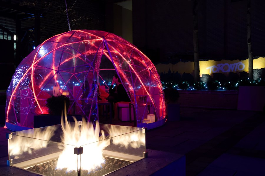 Igloo dining comes to the InterContinental Toronto Yorkville hotel's Proof Bar. Image via InterContinental / CNW Group.