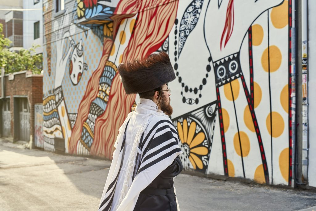 A member of the city's Hasidic Jewish community