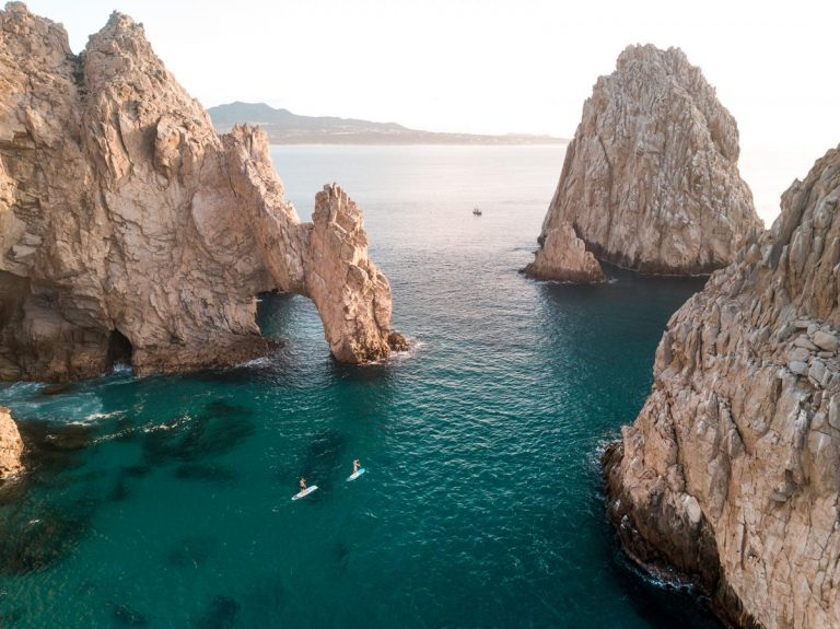 Ocean and rock formations in Los Cabos, Mexico.