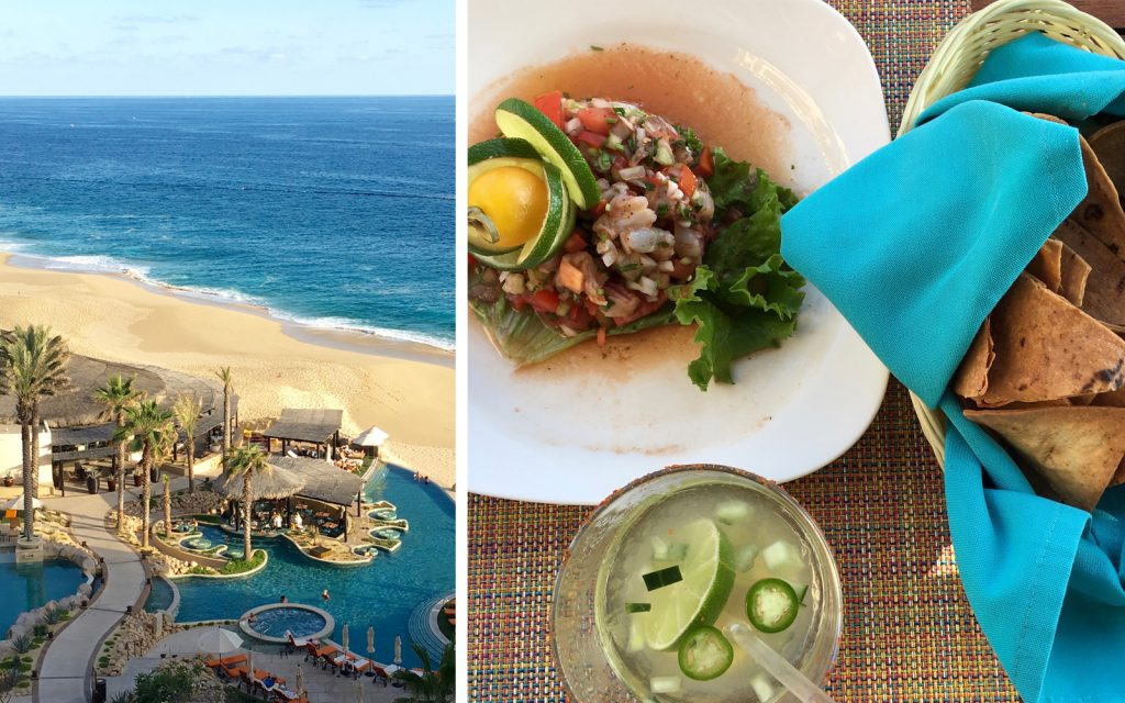 Two images: one of the Grand Solmar Hotel overlooking the Pacific Ocean. The other a plate of Mexican food.