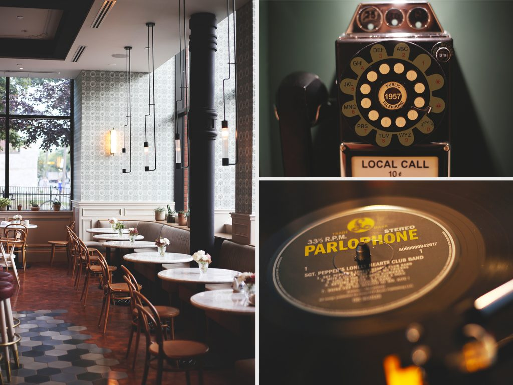 Left: The Broadview's Lobby Café+Bar. Right: Fun design touches around the hotel include payphones in the hallway and turntables in the rooms.