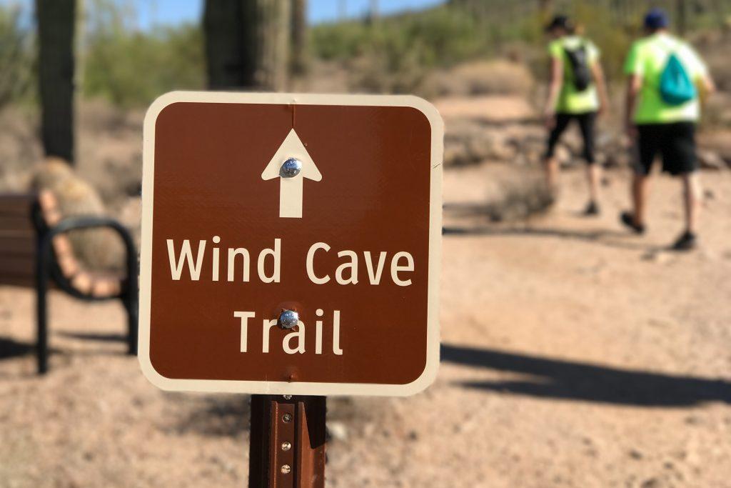 A scenic hike on the Wind Cave Trail in Mesa, Arizona.