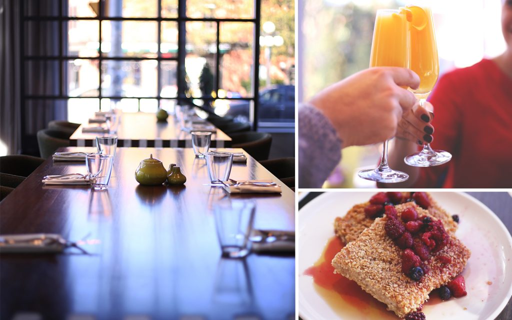 Clockwise from left: A table setting at feast + revel in the Andaz Ottawa ByWard Market, morning mimosas, feast + revel's take on French toast.