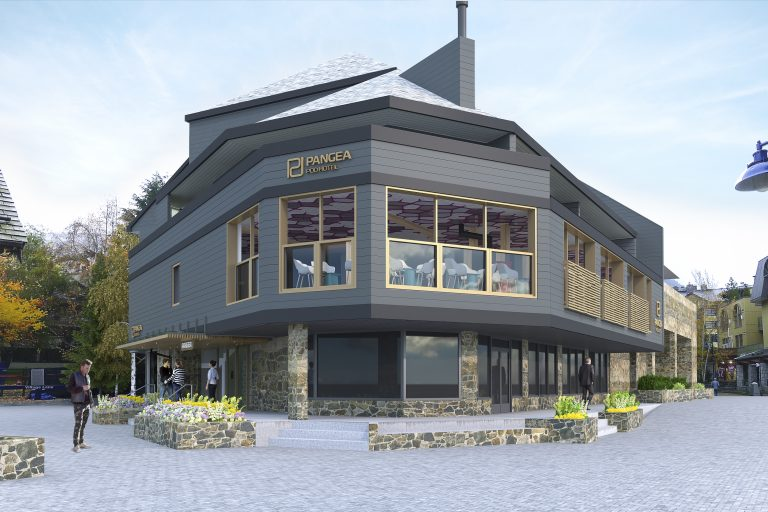 A rendering of the exterior of the Pangea Pod Hotel, opening in Whistler later this year.