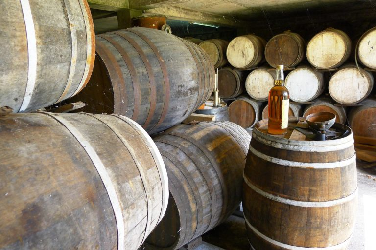 Casks of rum at Le Domaine de Séverin rum distillery.