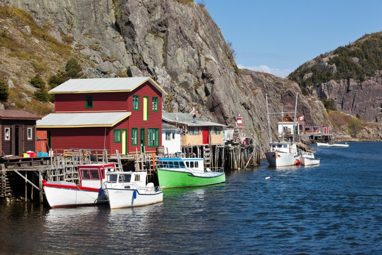 Narrow channel of water between Quidi Vidi Lake and the Atlantic Ocean, Quidi-Vidi Gut is lined with fishing sheds (or stages) on stilts that are still used today by local fishermen to bring in their catch and store their gear.