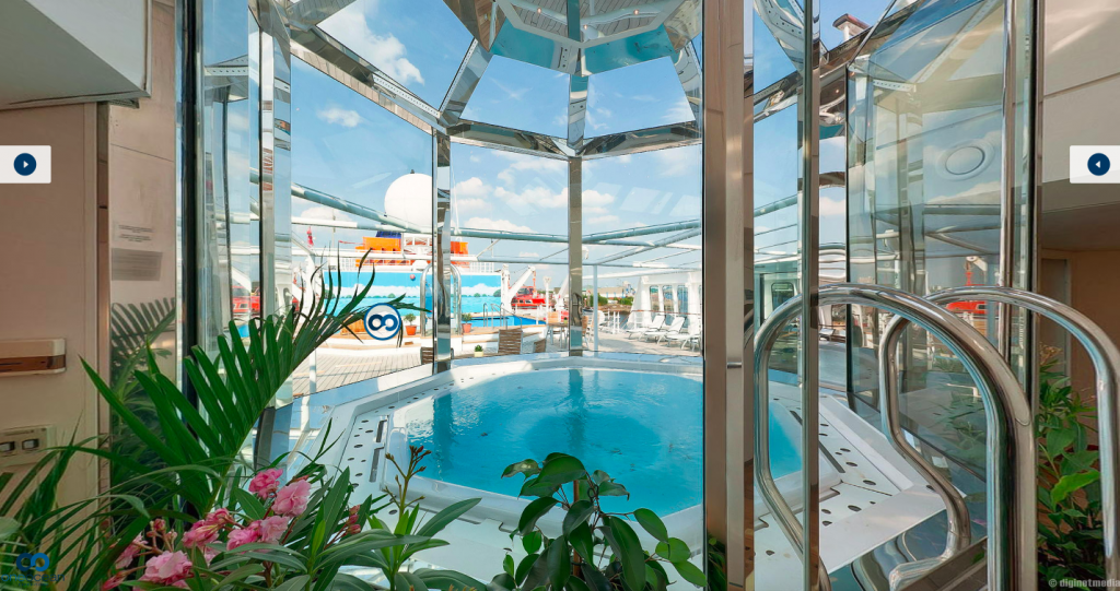 A glassed-in jacuzzi on board a cruise ship