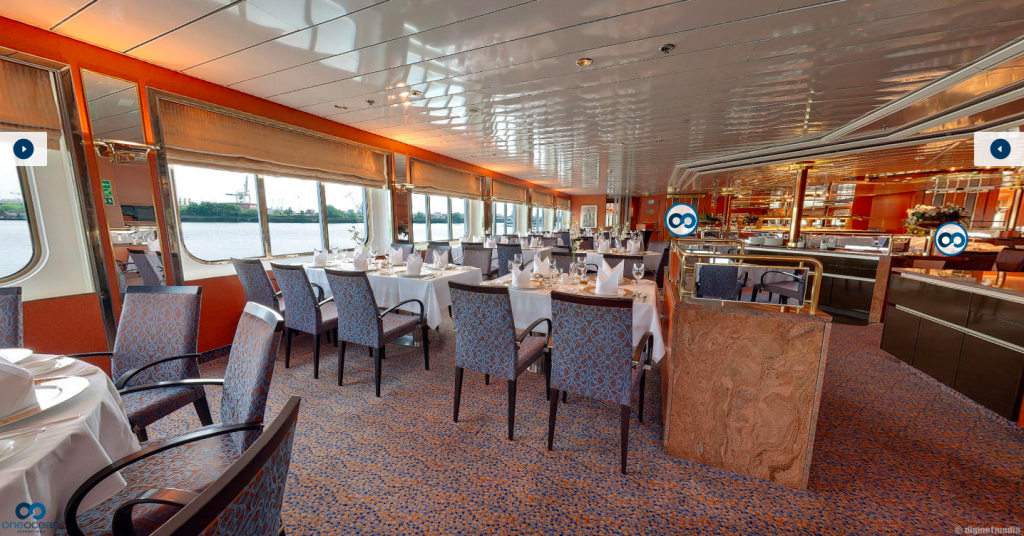 A luxurious dining room on board a cruise ship