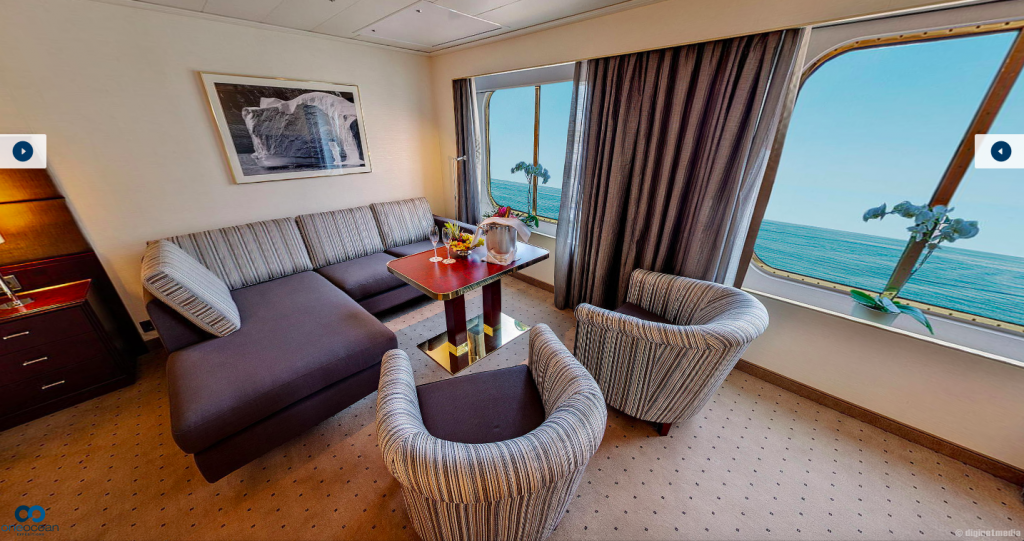 A luxurious suite on a cruise ship.