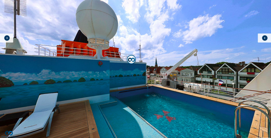 A small swimming pool on board a cruise ship