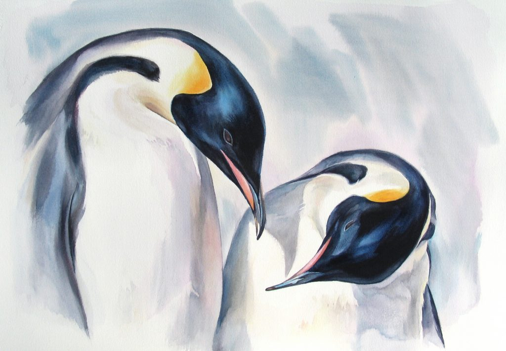 Watercolour painting of two penguins