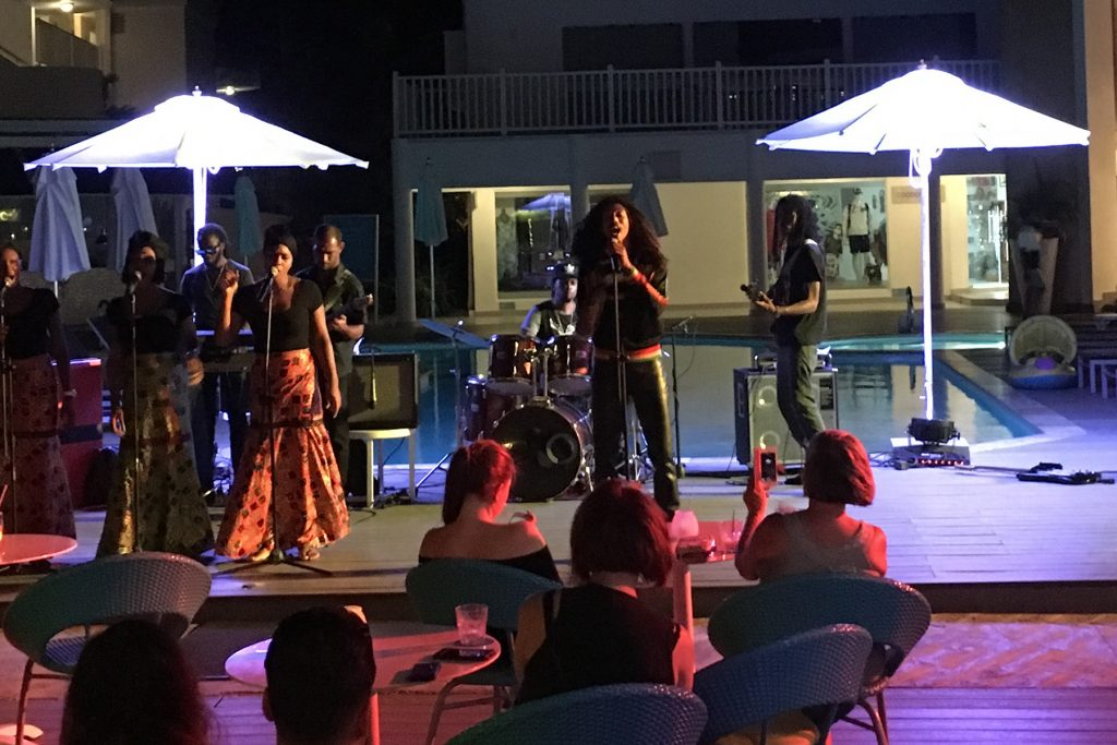 pool Bob Marley cover band Azul Beach Resort Negril Jamaica Seven Mile Beach