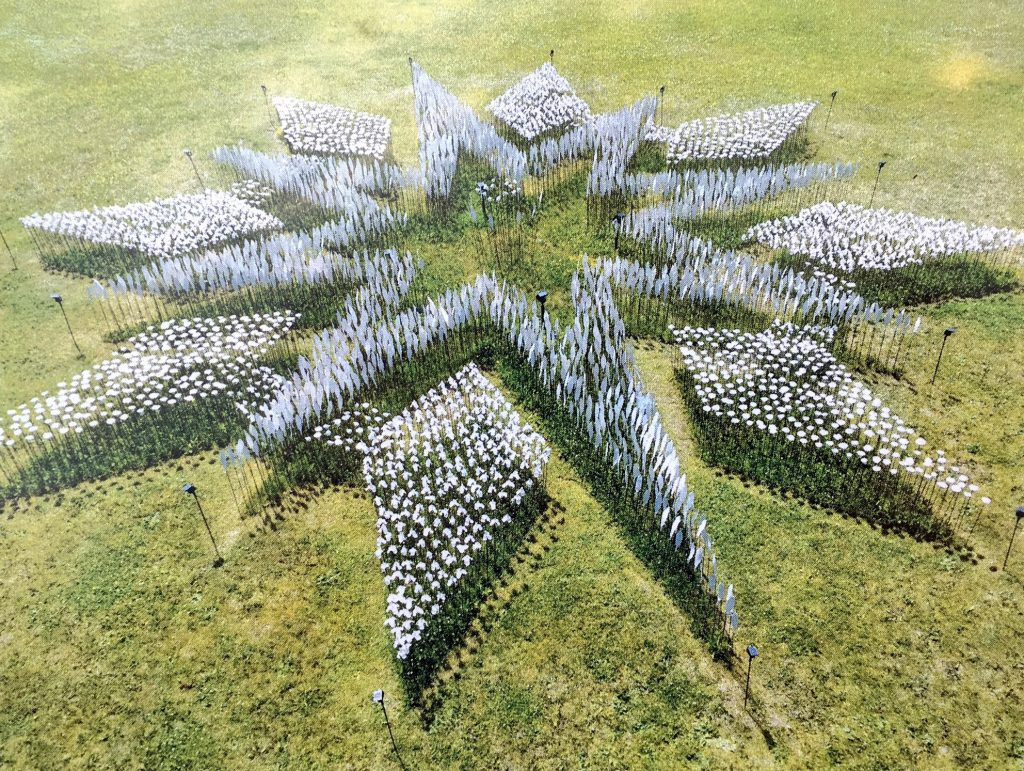 Sculptures arranged in the shape of a compass rose