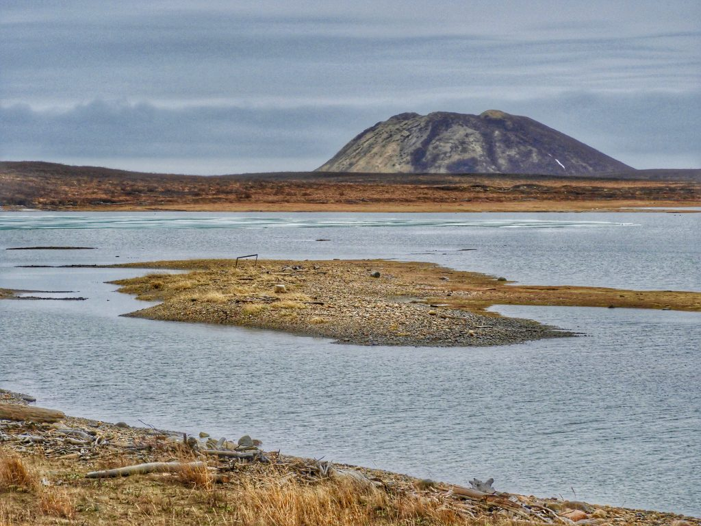 Large ice hill pingo on Canadian Arctic tundra