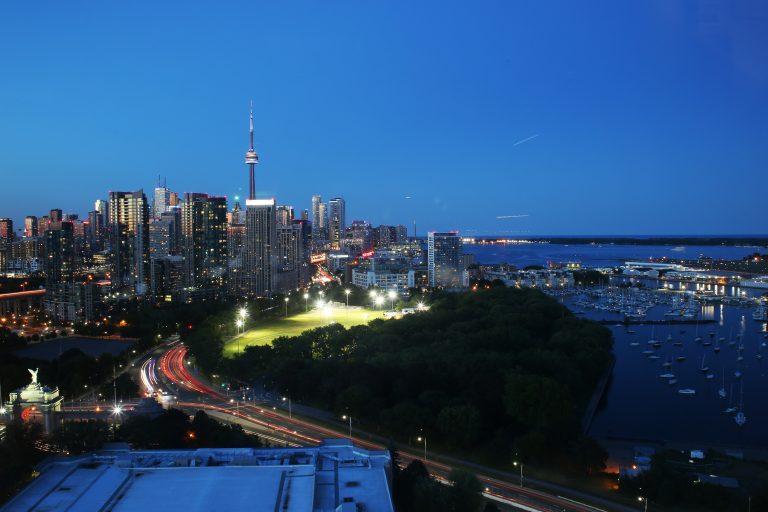 Toronto skyline dusk evening