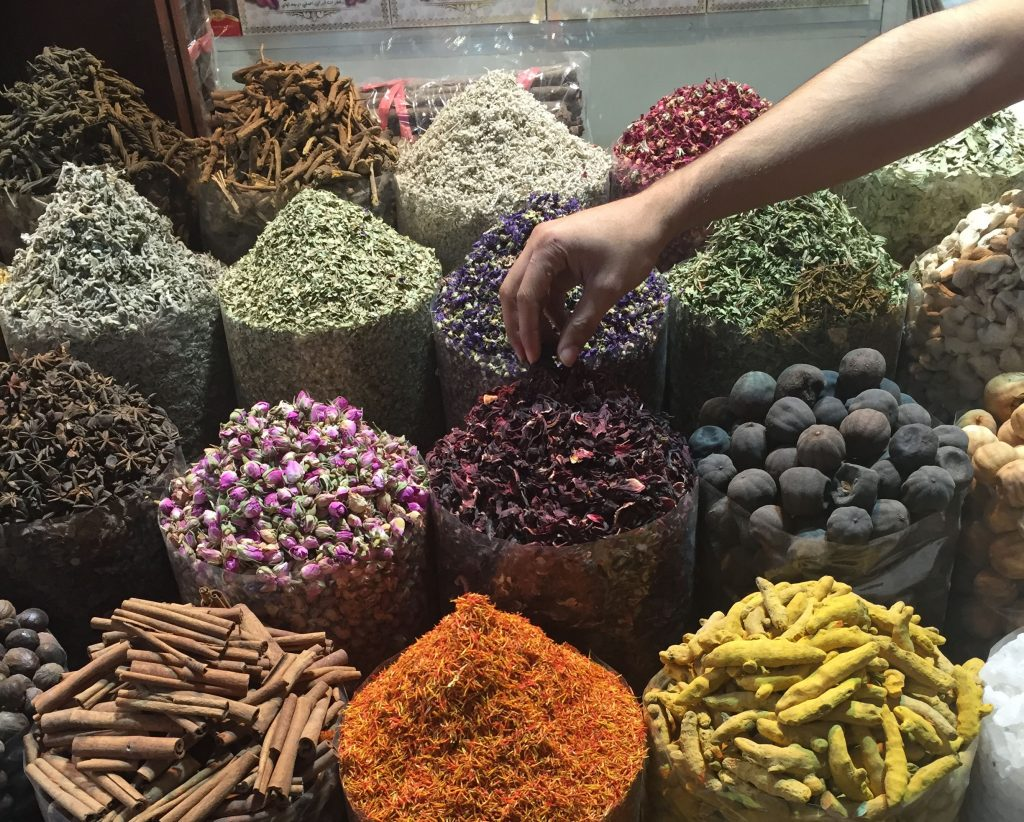 Piles of spices in a market