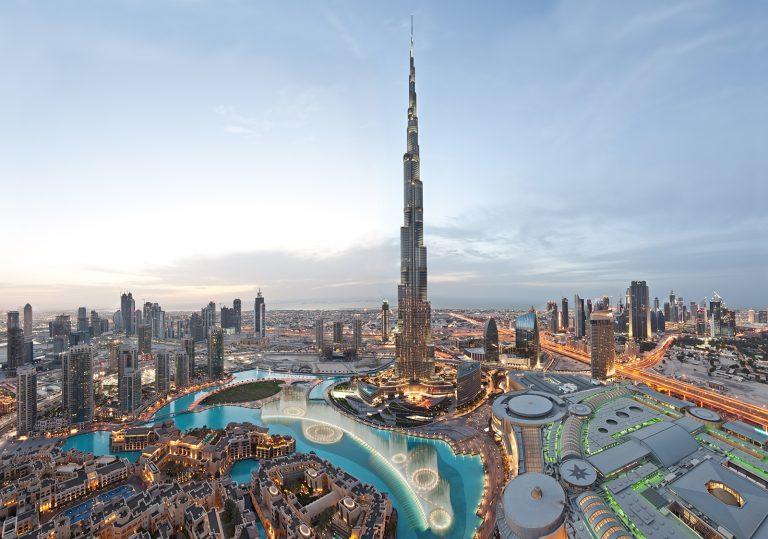 Burj Khalifa Dubai evening panorama