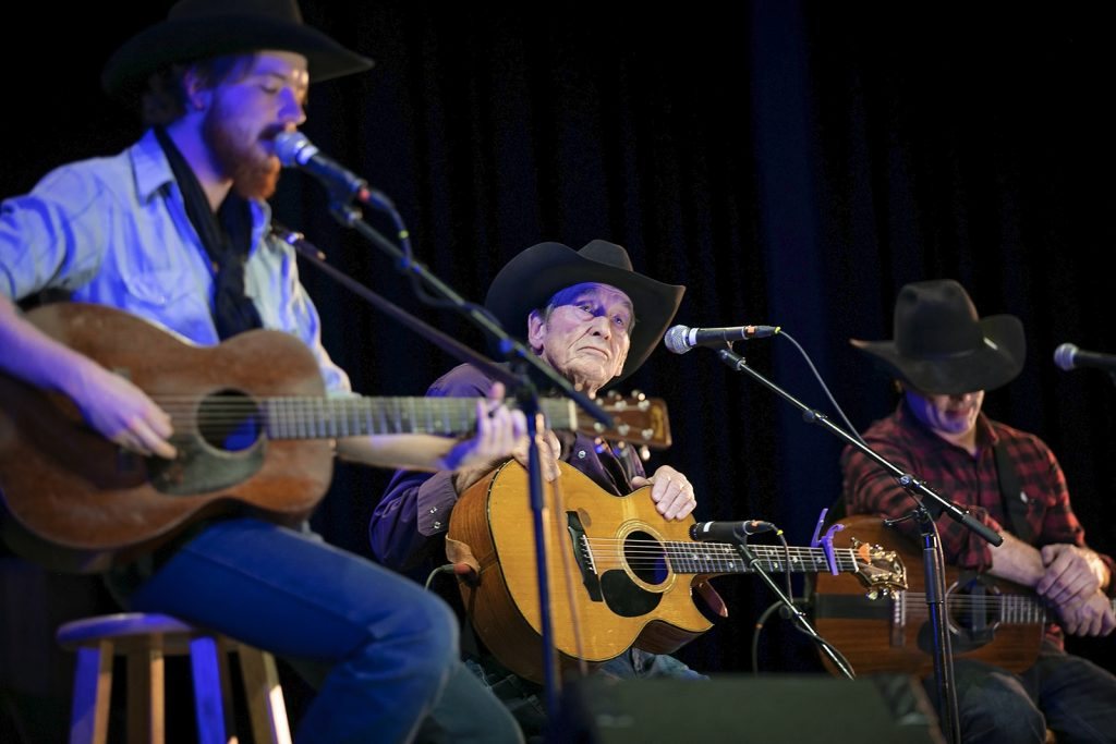 Canadian musicians Colter Wall, Ian Tyson and Corb Lund share the stage during the Gathering's closing show, entitled Bridging the 49th.