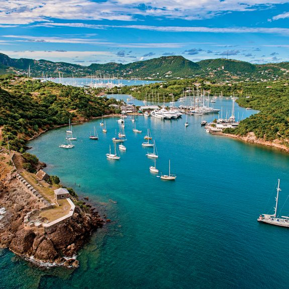 An aerial view of English and Falmouth Harbours, Antigua.
