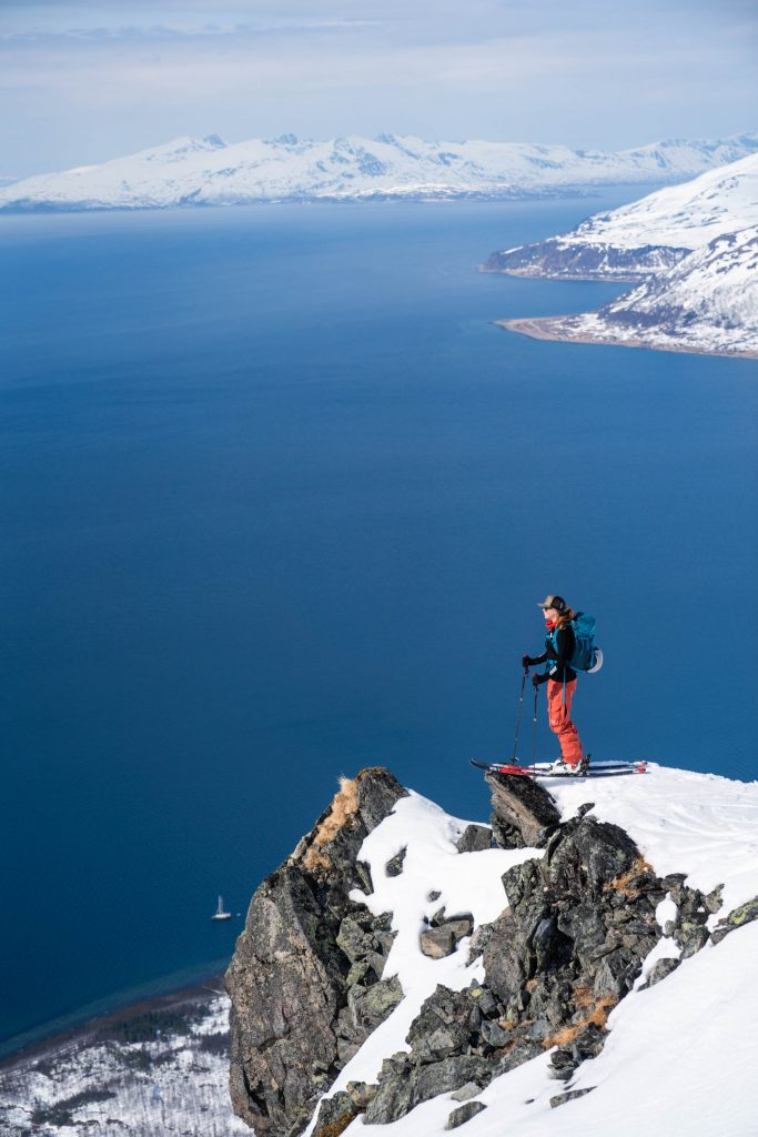 Norway, Finnmark, spring skiing, sailing