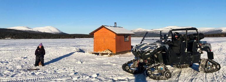 ice fishing on Fish Lake, Yukon