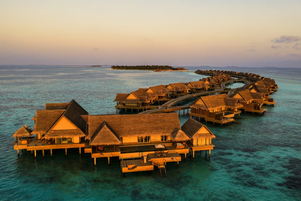 Joali, Maldives, Sunset Water Villa, aerial, drone, Neil Dankoff