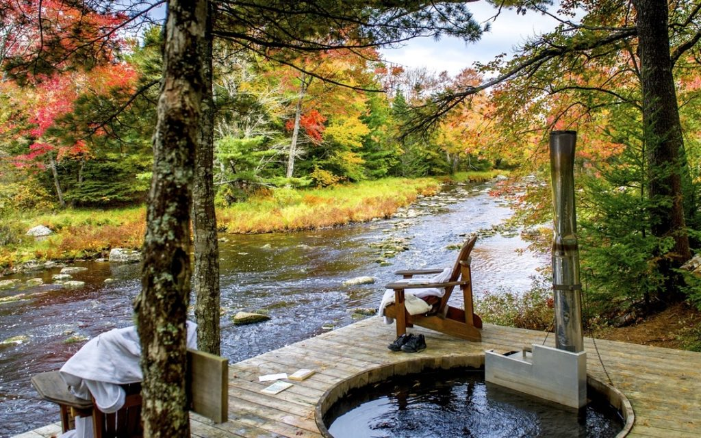 hot tub at trout point lodge overlooking the Tusket River, N.S.