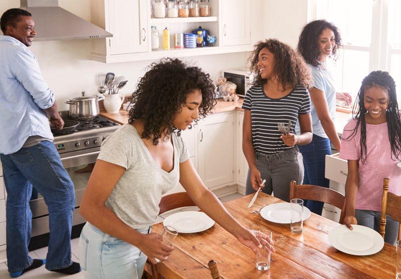 family setting kitchen table