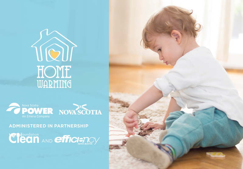A toddler sitting on the floor with the Homewarming logo superimposed