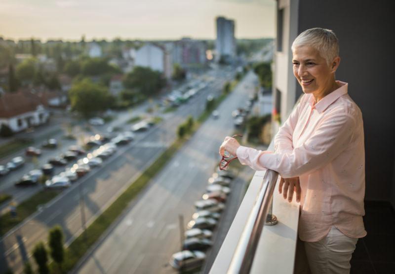 woman on balcony