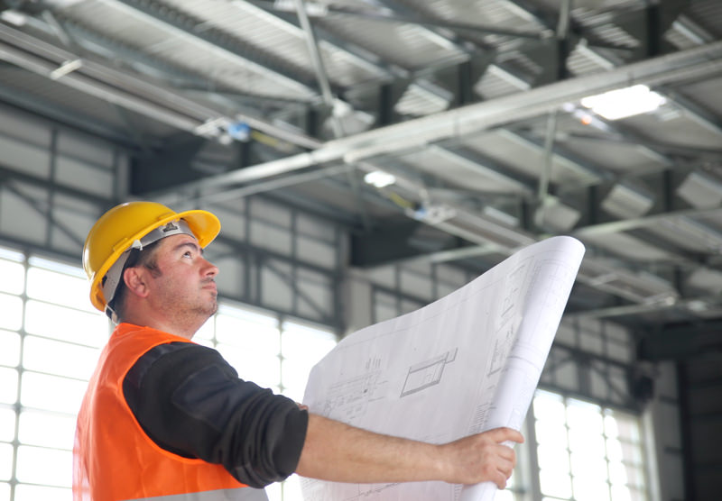 contractor with blueprint