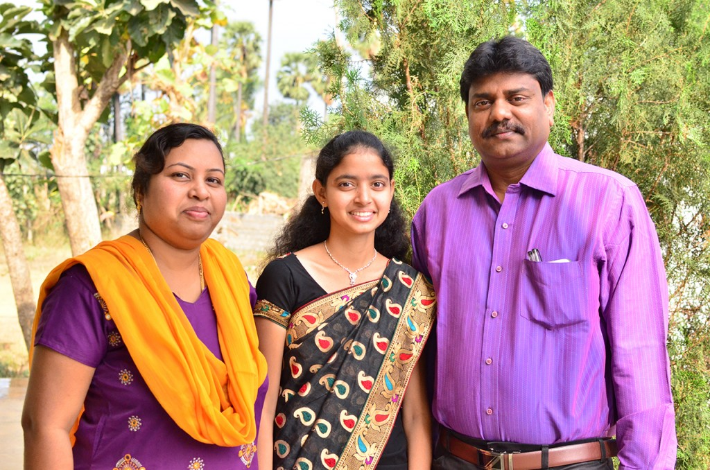 Lalitha and her Compassion centre tutors Sunitha (left) and Ravi.