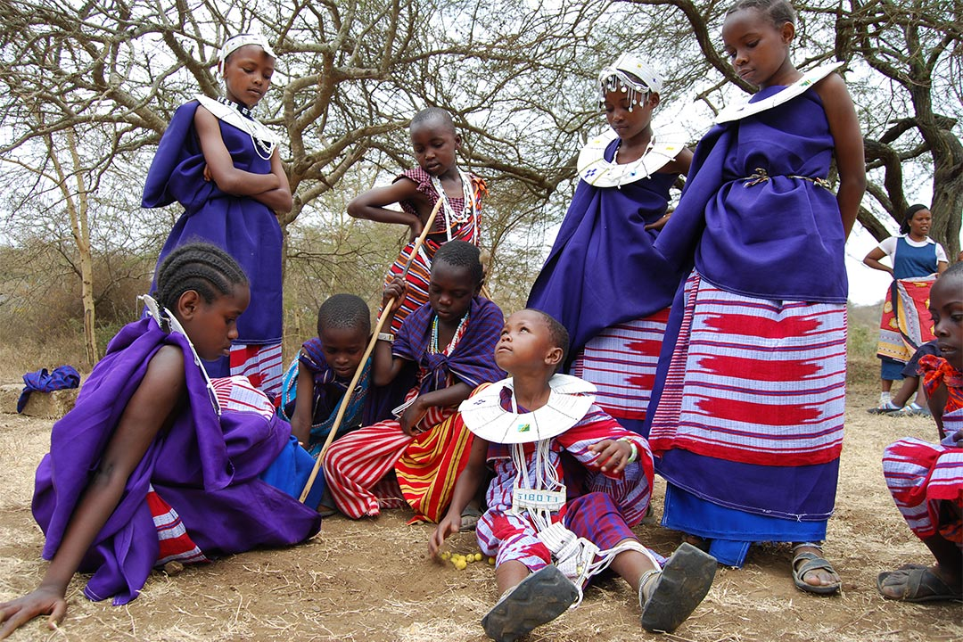 Children in Tanzania wearing their traditional festive garb