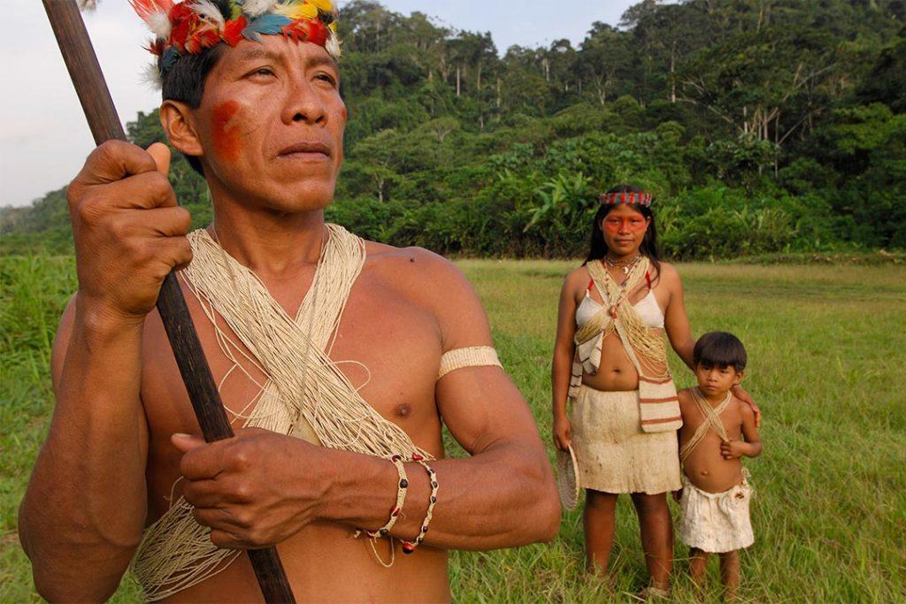 A family in the Amazon region of Ecuador