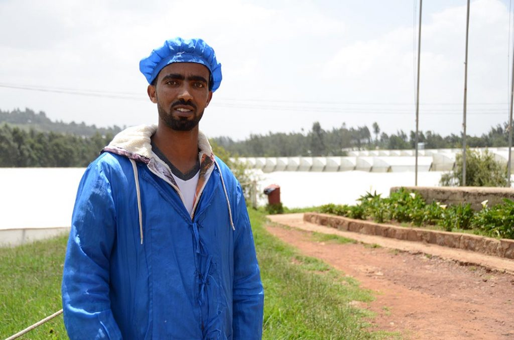 A man stands in front of series of greenhouses. He wears blue hair net and blue, protective lab coat.