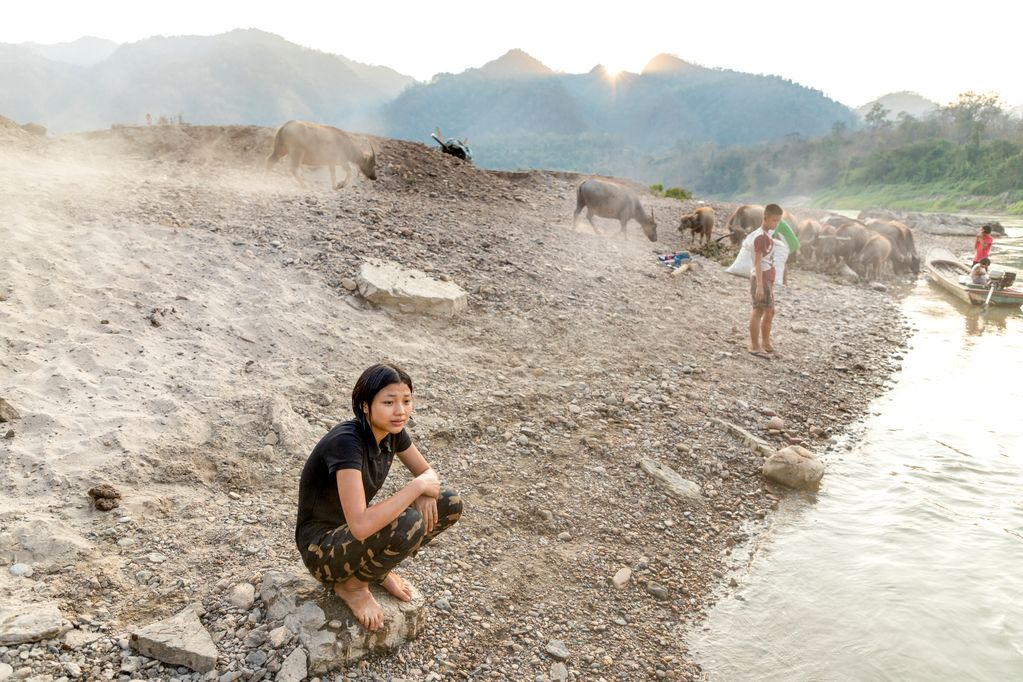 A 15-year-old teenager, female adolescent, Pimchanok is squatting on the beach, shore, sand at the river. Other children, cattle, cows, animals are in the background.