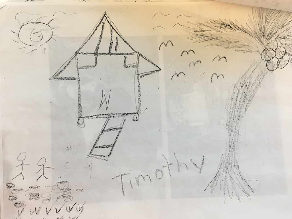 "A picture of a house and a palm tree drawn in pencil and signed ""Timothy"""