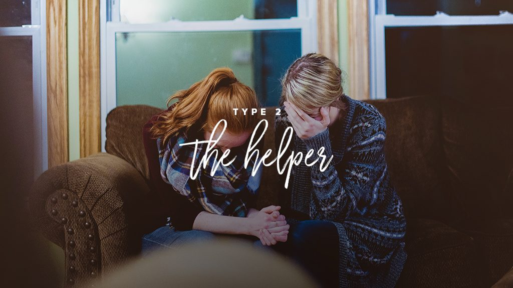 """Type 2: the helper"" two women are praying together on a couch"