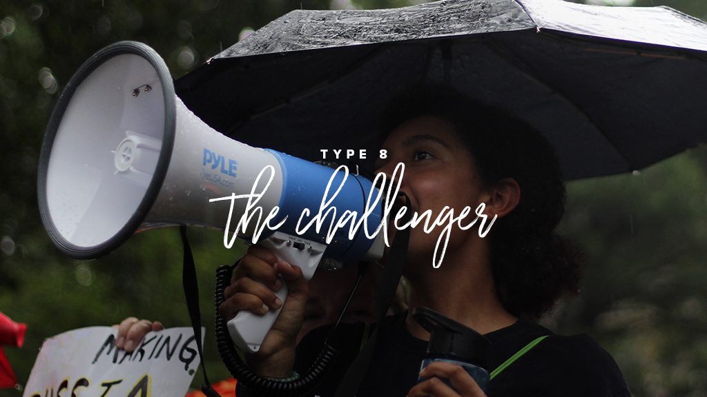 type 8: the challenger. girl holding a megaphone in the rain