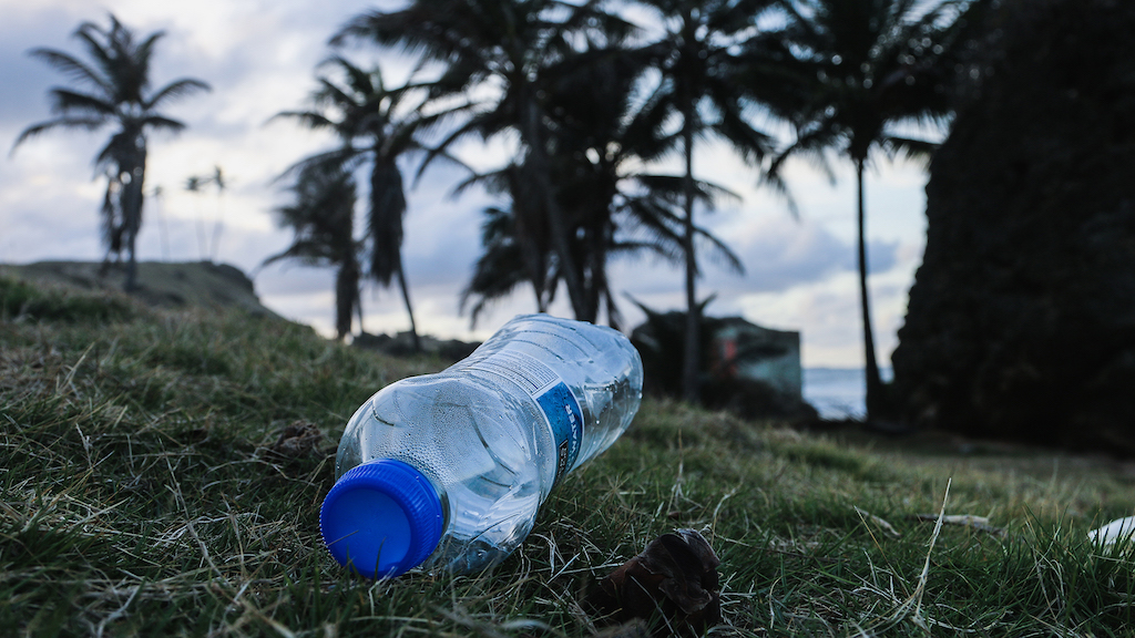 A plastic water bottle on its side, on the ground, amongst grass and palm trees in the background.