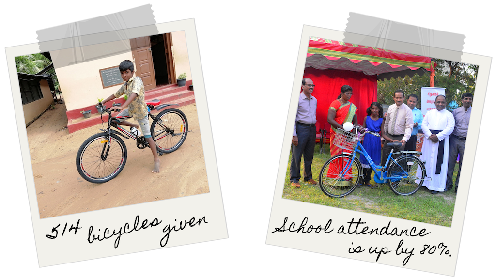 Two photos. Photo 1: A boy riding a bicycle. Photo 2: A girl receiving a bicycle poses with a group of adults.