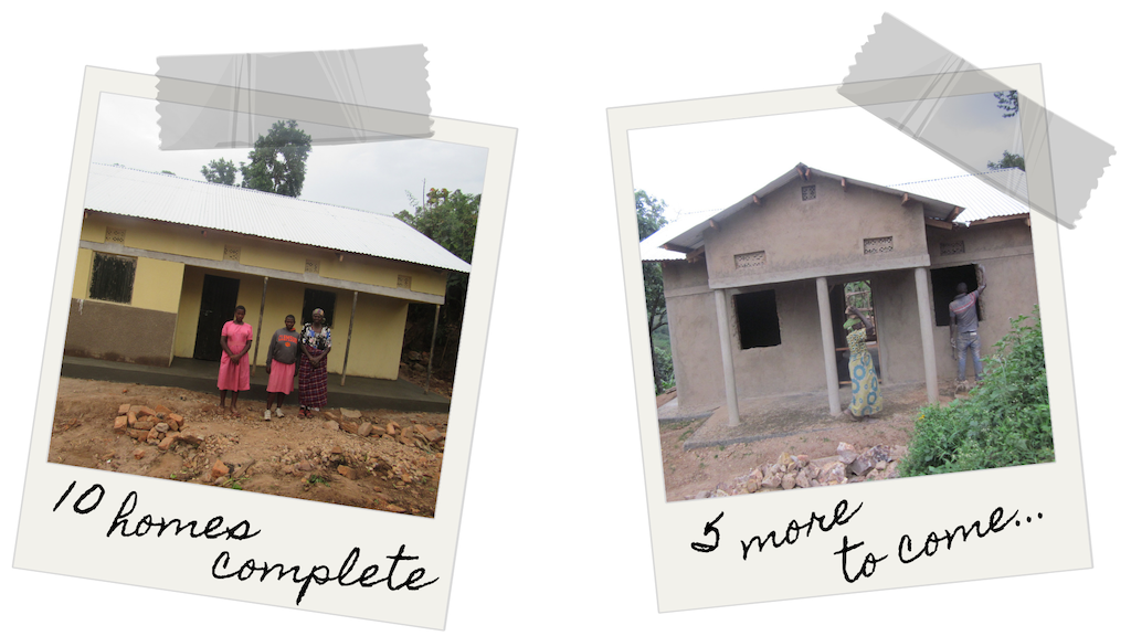 Left: a family poses in front of a completed home. Right: A home that is nearly complete; a woman walking in front of it carrying supplies.