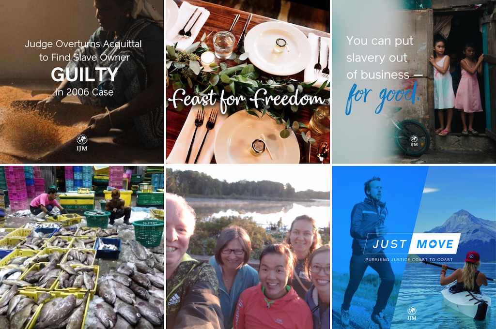 A grid of photos from International Justice Mission Canada's Instagram account.