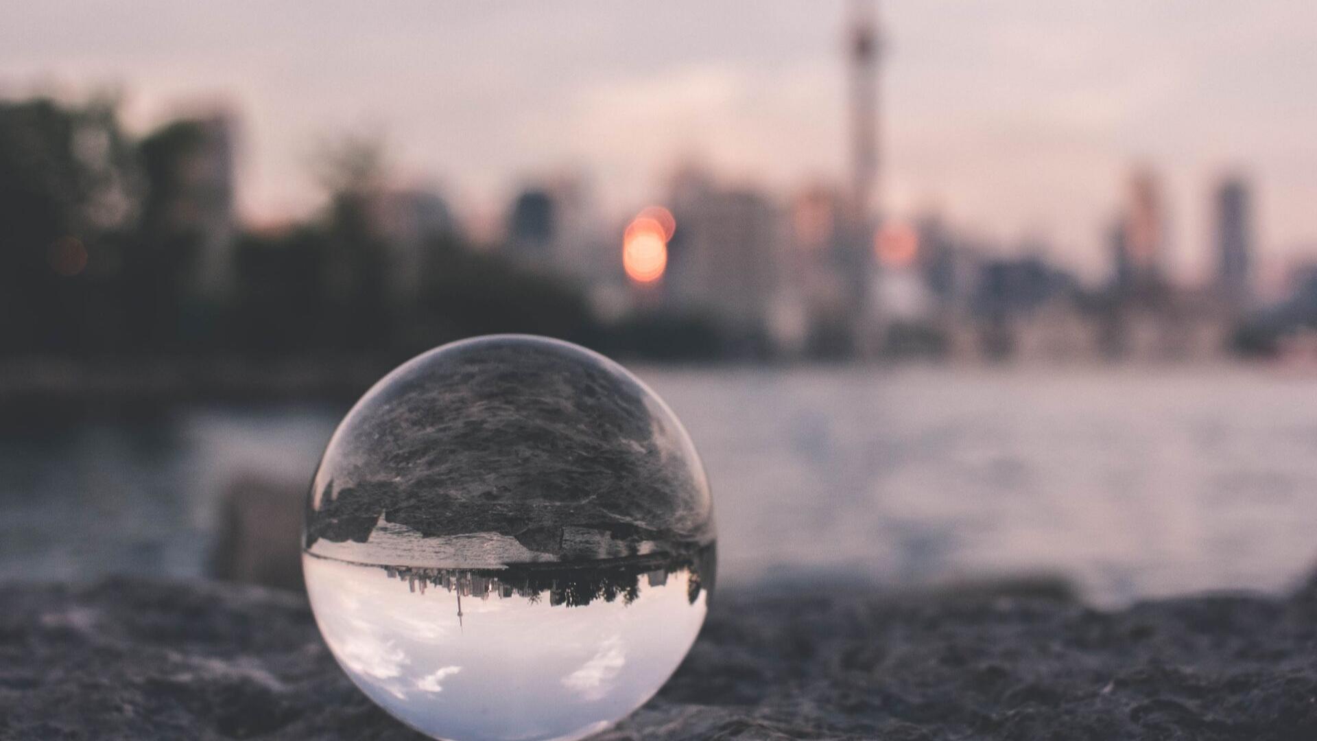 A view of the Toronto Skyline through a lens.