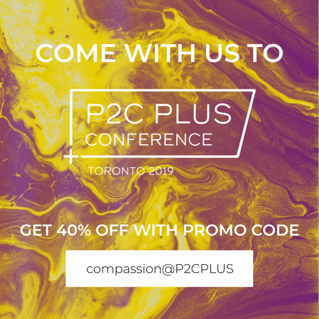 Promotional graphic with promo code 'compassion@P2CPLUS'.