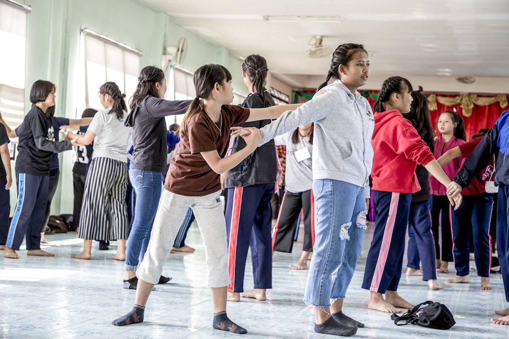 Students in the self-defence training.