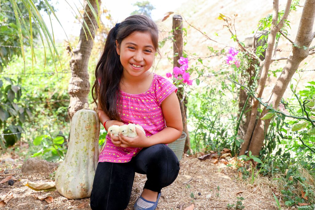 Little girl with a pink shirt holds 3 baby chicks in her hands smiling.