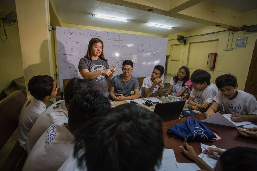 Sheryl, teaching at the local Compassion centre where she and Cres first met.