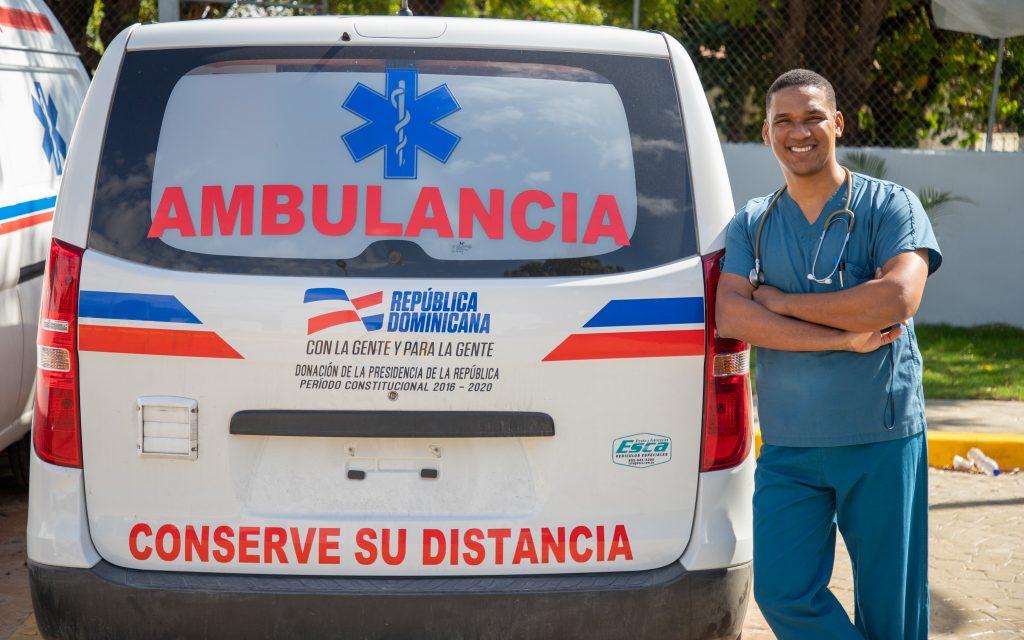 Jose outside of an ambulance truck