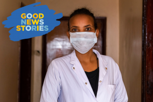A portrait of an Ethiopian doctor wearing a mask.